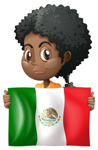 Fille tenant le drapeau du Mexique vecteur