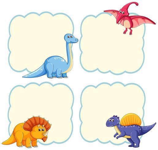 Modèle de cadre de dinosaure mignon vecteur
