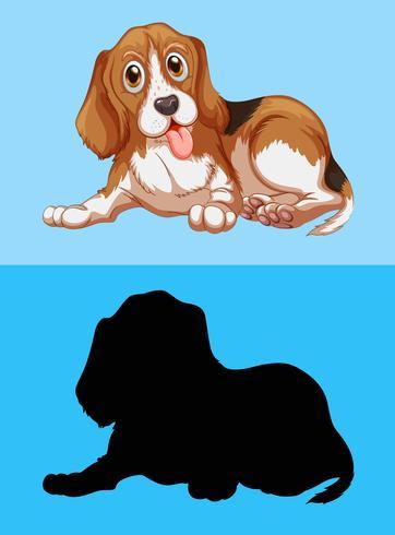 Chien Beagle et sa silhouette vecteur