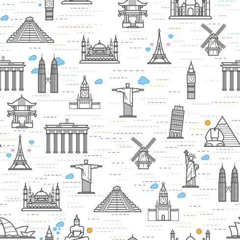 Modèle sans couture des attractions du monde, esquisser le dessin pour votre application. vecteur