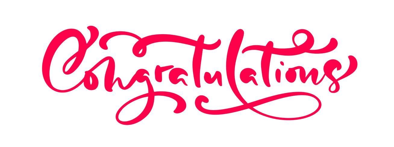 Calligraphie de vecteur dessinés à la main lettrage texte Félicitations. Citation de félicitations manuscrite moderne élégante. Illustration d'encre. Affiche de typographie sur fond blanc. Pour les cartes, les invitations, les impressions