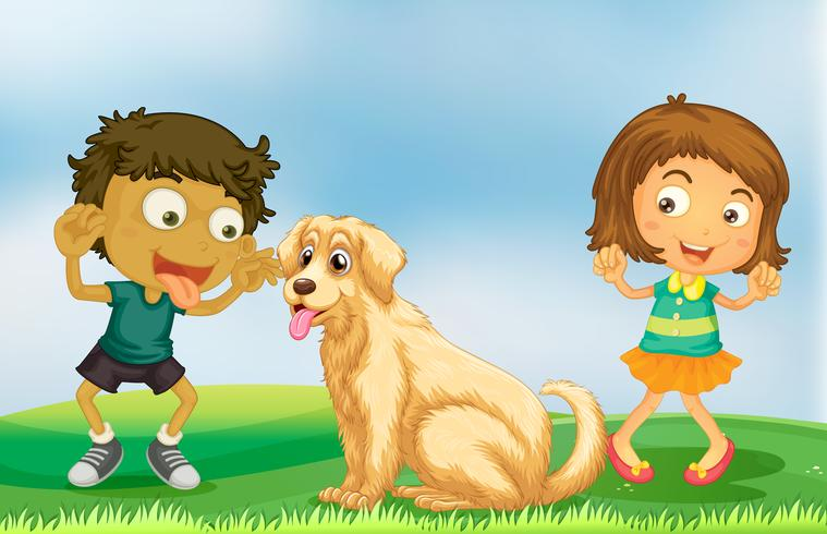 Fille et garçon jouant avec un chien vecteur