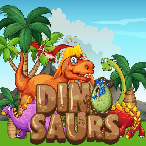 Scène avec des dinosaures dans le parc vecteur