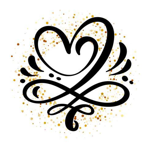 Signe d'amour coeur Illustration vectorielle. Symbole romantique lié, rejoindre, passion et mariage. Élément plat design de la Saint-Valentin. Modèle de t-shirt, carte, affiche vecteur