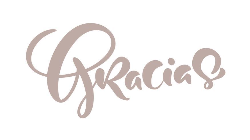 Lettrage écrit à la main par Gracias. Calligraphie au pinceau moderne. Merci en espagnol. Isolé sur fond Illustration vectorielle vecteur