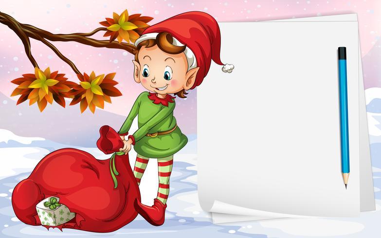 Un papier vide à côté de l'elfe vecteur
