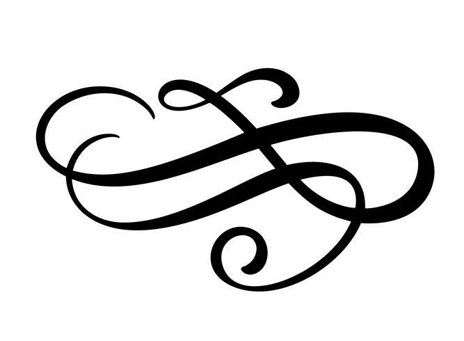 Élément de design en filigrane de lignes florales vecteur