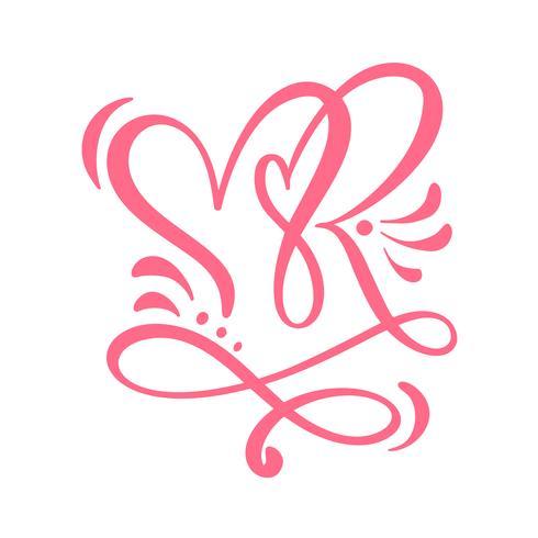 Deux coeurs calligraphiques amoureux. Calligraphie de vecteur à la main. Décor pour cartes de vœux, mug, superpositions de photos, t-shirts imprimés, flyers, posters