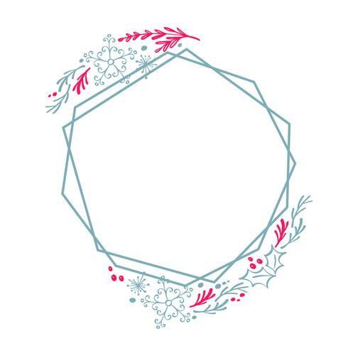 Cadre de géométrie guirlande dessiné à la main de Noël stylisé carré pour carte avec fleurs et feuilles. Illustration vectorielle scandinave avec la place pour votre texte vecteur
