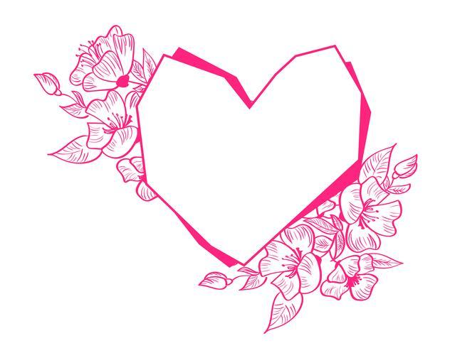 Cadre de géométrie de coeur dessiné main rouge avec fleurs et feuilles vecteur
