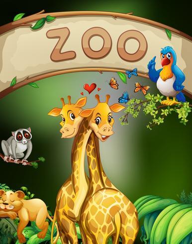 Signe de zoo et de nombreux animaux vecteur