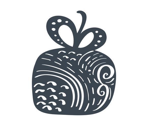 Handdraw scandinave Noël icône de vector boite cadeau. Symbole de contour simple cadeau. Isolé sur le kit de signe web blanc de photo d'épinette stylisée