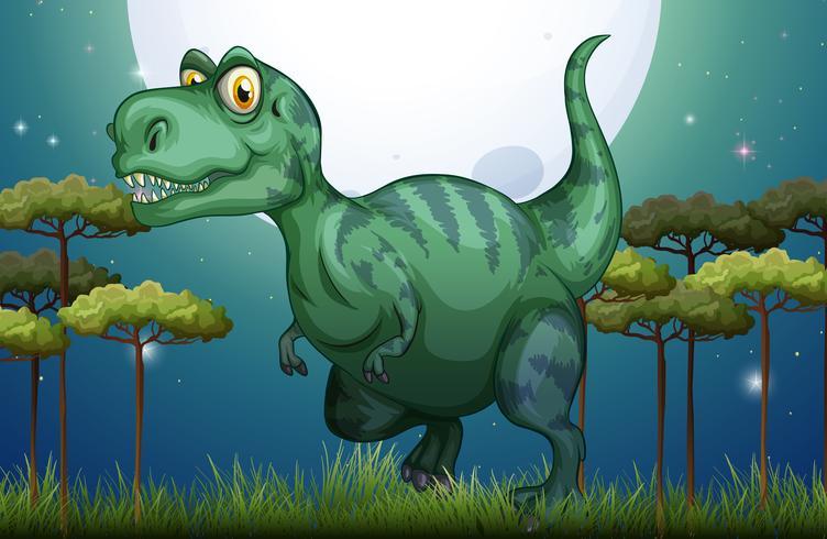 Dinosaure dans le champ la nuit vecteur