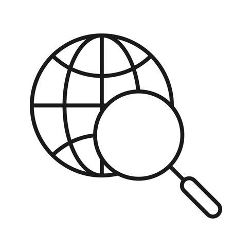 Icônes de ligne de recherche Internet de recherche vecteur