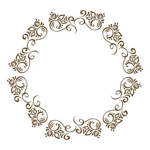 Guirlande d'éléments de Design automne floral dessinés à la main isolé sur fond blanc pour le design rétro Calligraphie de vecteur et lettrage illustration
