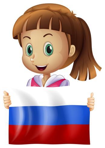 Jolie fille et drapeau de la Russie vecteur