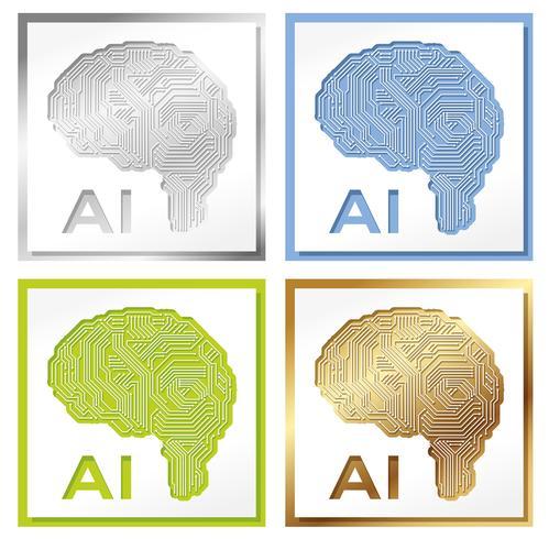 Ensemble de quatre illustrations de concept d'intelligence artificielle. vecteur