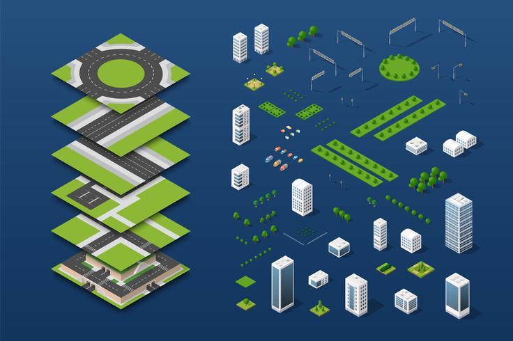 Concept isométrique de la ville de l'entreprise d'infrastructure urbaine vecteur