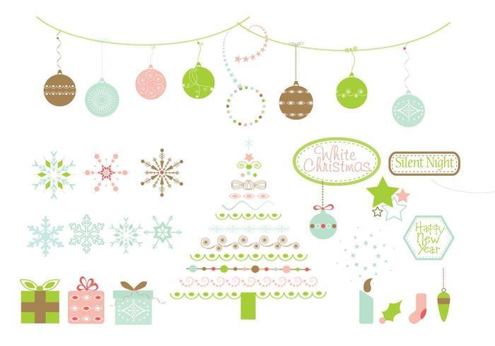 Pack vectoriel des éléments de conception de Noël
