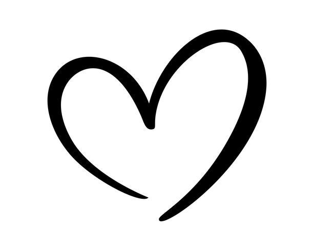 Signe de coeur amour calligraphique vecteur
