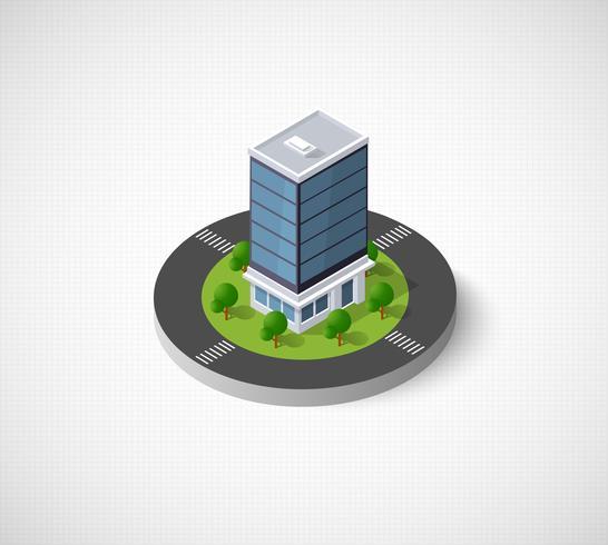 icônes 3D ville isométrique vecteur