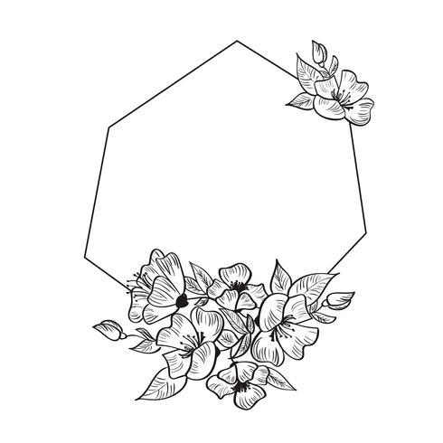 Cadre de géométrie dessiné main moderne avec des fleurs et des feuilles vecteur