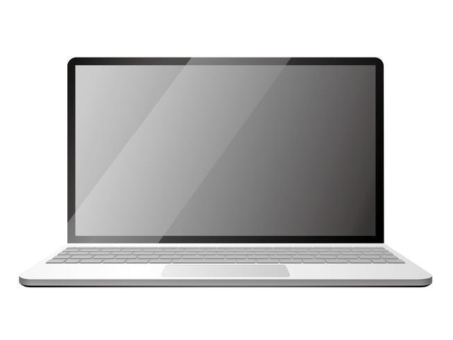 Ordinateur portable isolé sur fond blanc. vecteur