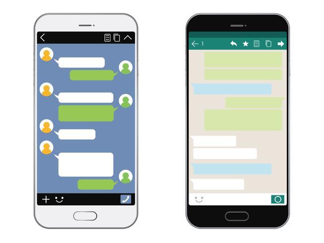 Smartphone avec interface SNS isolée sur fond blanc. vecteur