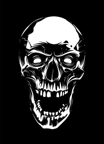 Crâne blanc avec la bouche ouverte sur fond noir vecteur