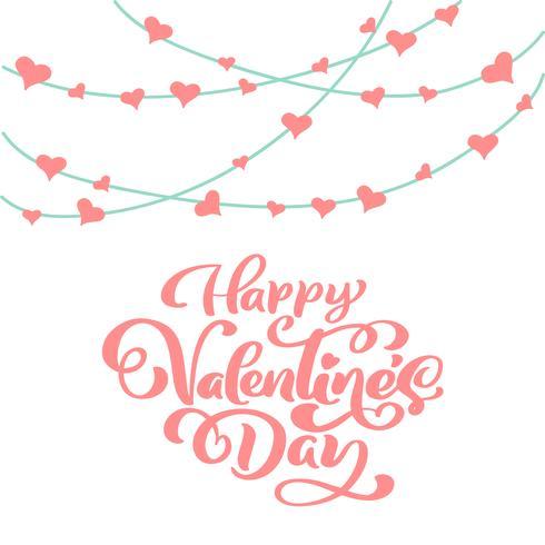 Affiche de typographie Happy Valentines Day avec texte de calligraphie manuscrite, isolé sur fond blanc. Illustration vectorielle vecteur