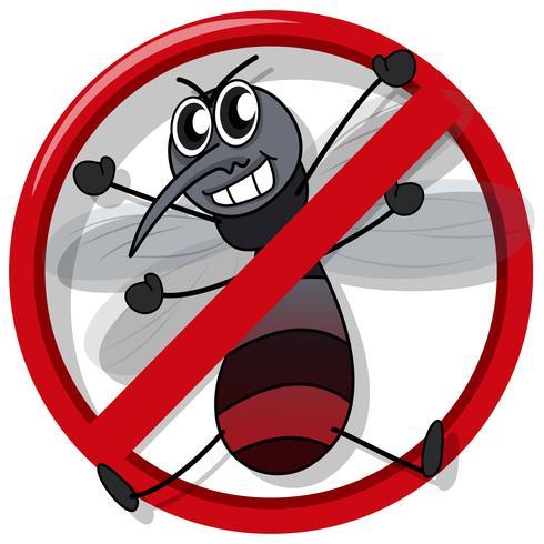 Aucun signe de moustique sur blanc vecteur