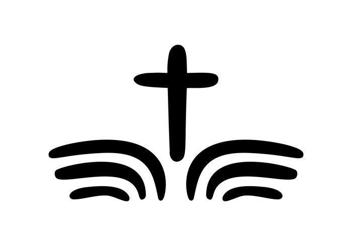 Illustration vectorielle du logo chrétien. Emblème avec Croix et Sainte Bible. Communauté religieuse. Élément de design pour affiche, logo, badge, signe vecteur