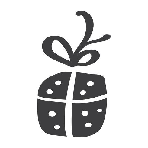 Silhouette d'icône vectorielle de Noël giftbox. Symbole de contour simple cadeau. Isolé sur le kit de signe web blanc d'épicéa stylisé. Tirage au sort photo scandinave vecteur