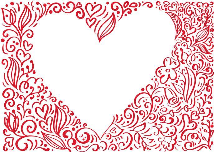 Cadre vecteur rouge Saint Valentin fond dessiné à la main coeur avec place pour le texte. Saint Valentin Design vacances. décor d'amour pour carte de voeux, web, mariage. Illustration de lettrage de calligraphie isolée