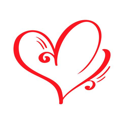 Coeur calligraphique dessiné à la main vecteur rouge Saint Valentin. Élément de conception de vacances valentine. Icon love decor pour le Web, le mariage et l'impression. Illustration de lettrage de calligraphie isolée