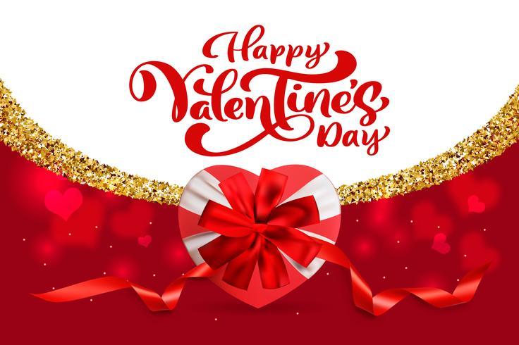 Conception de vecteur de typographie Happy Valentines Day pour cartes de voeux et affiches. Texte de vecteur Valentine sur un fond de vacances rouge. Illustration de célébration modèle de conception