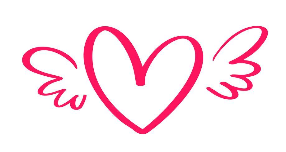 Coeur Saint-Valentin de vecteur dessiné main dessiné avec des ailes. Élément de conception de vacances valentine. Icon love decor pour le Web, le mariage et l'impression. Illustration de lettrage de calligraphie isolée