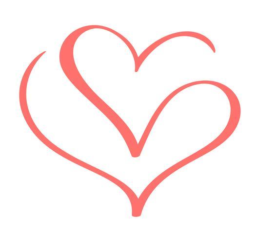 Vecteur Valentines éléments de coeur de conception calligraphique dessinés à la main. Icon love decor pour le Web, le mariage et l'impression. Isolé sur fond blanc calligraphie et lettrage illustration