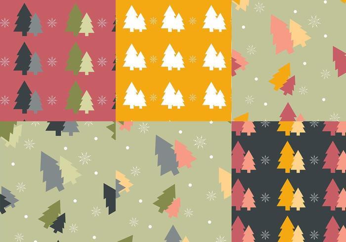 Pack de motifs vectoriels arbre de Noël coloré vecteur