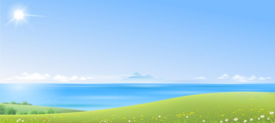 Paysage de mer avec des collines verdoyantes vecteur