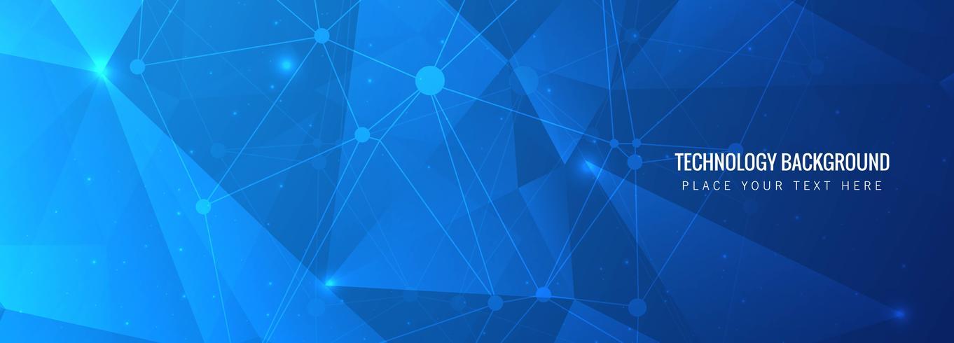 Fond d'en-tête de technologie abstrait polygone bleu vecteur
