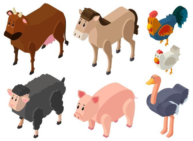 Conception 3D pour animaux de ferme vecteur