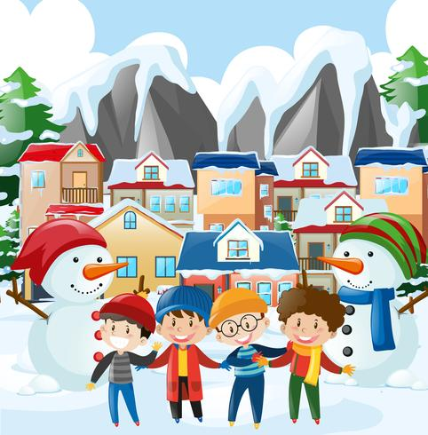 Scène de quartier avec quatre garçons en habits d'hiver vecteur