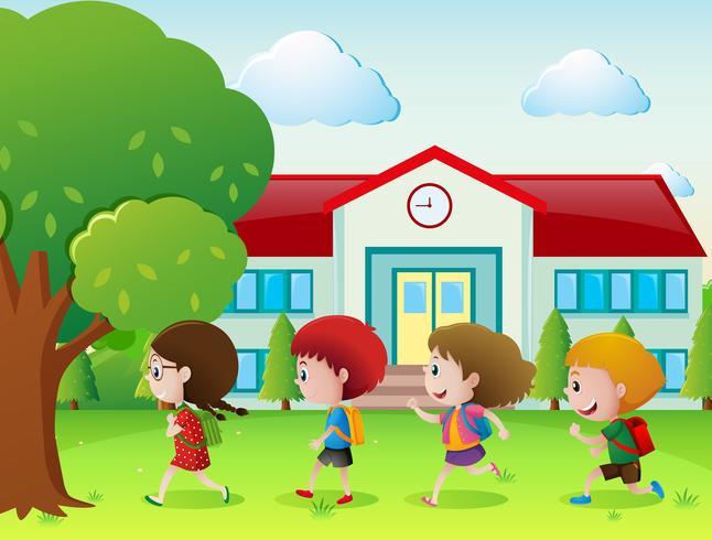 Quatre enfants vont à l'école vecteur
