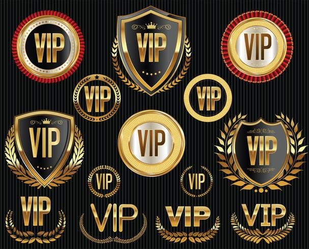 Collection d'étiquettes et de badges Golden VIP vecteur