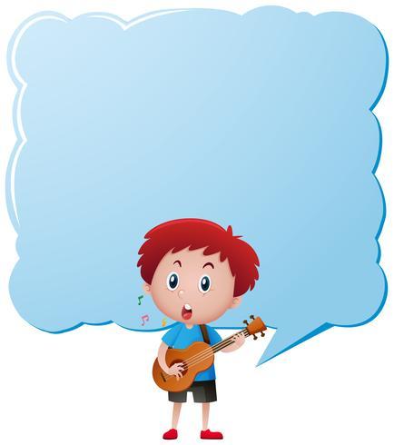 Modèle de bordure avec garçon jouant de la guitare vecteur