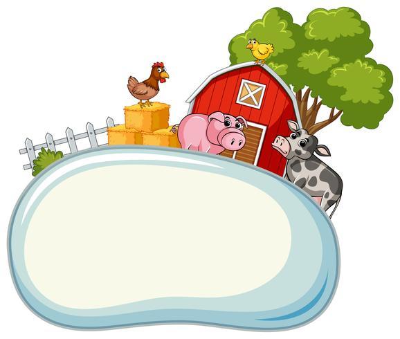 Modèle de frontière avec des animaux de la ferme en arrière-plan vecteur