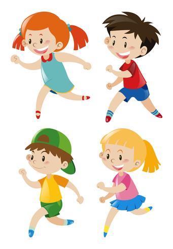 Garçons et filles courir vecteur