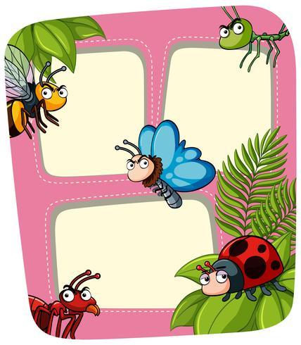 Modèle de bordure avec de nombreux insectes vecteur