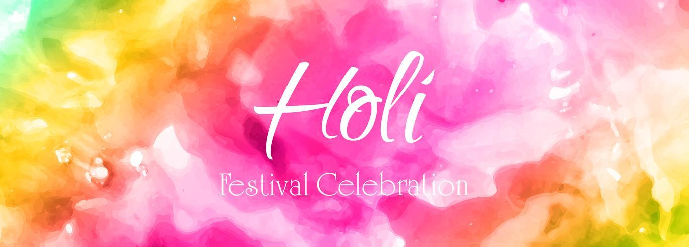 Tambour de bannière coloré holi heureux célébration vecteur